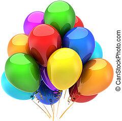 fête, anniversaire, ballons, heureux