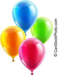 fête, anniversaire, ballons, ou