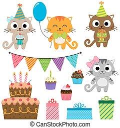 fête, anniversaire, chats, éléments