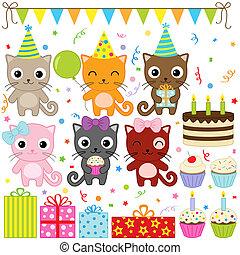 fête, anniversaire, chats
