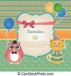 fête, anniversaire, conception, carte, invitation