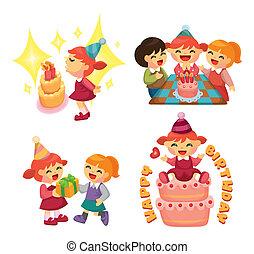 fête, anniversaire, dessin animé