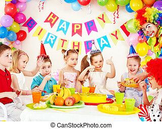 fête, anniversaire, enfant