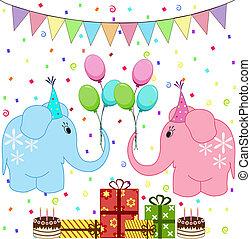 fête, anniversaire, ensemble, éléphants