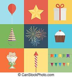 fête, anniversaire, ensemble, icônes