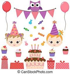 fête, anniversaire, ensemble