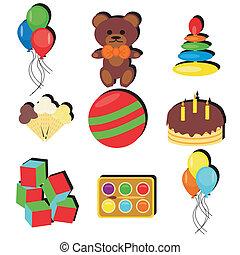 fête, anniversaire, ensemble, objets