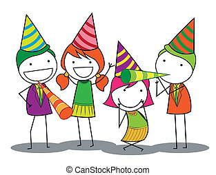 fête, anniversaire, gens