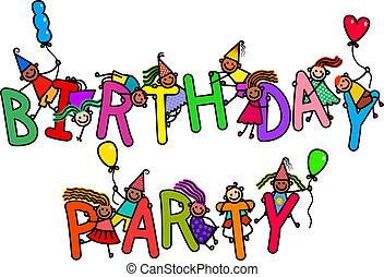 fête, anniversaire, gosses