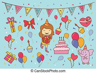 fête, anniversaire, griffonnage