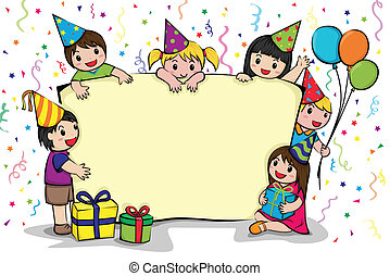 fête, anniversaire, invitation