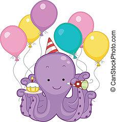 fête, anniversaire, poulpe