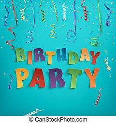 fête, anniversaire, template., affiche