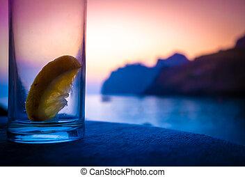 fête, après, plage, cocktail, matin