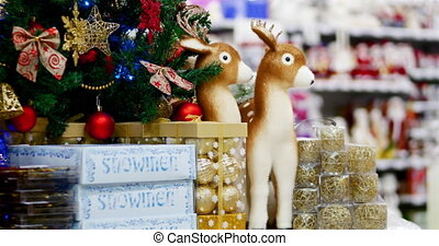 fête, arbre, decoration., lights., décoration, reindeers., arcs, astérisques, année, nouveau, balle, noël