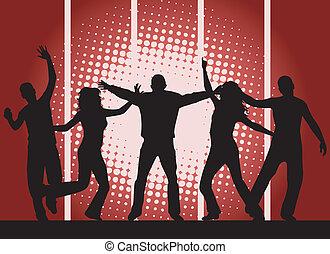 fête, -, arrière-plan rouge, gens