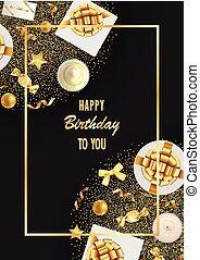 fête, articles, salutation, carte anniversaire, heureux
