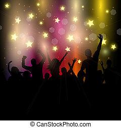 fête, audience, fond, étoilé