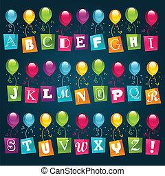 fête, ballons, alphabet