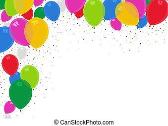 fête, ballons, coloré, fond