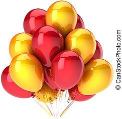 fête, ballons, coloré, jaune, rouges