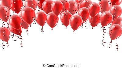 fête, ballons, fond, rouges