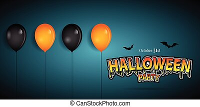 fête, ballons, heureux, halloween, bannière, decoration.