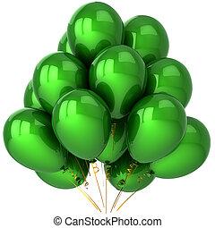 fête, ballons, vert, classique