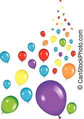 fête, balloon, fond