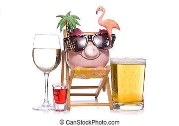 fête, boissons alcoolisées, vacances, tirelire