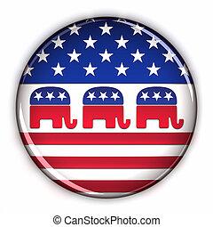 fête, bouton, républicain