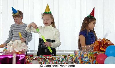 fête, bulles, anniversaire, savon, enfants