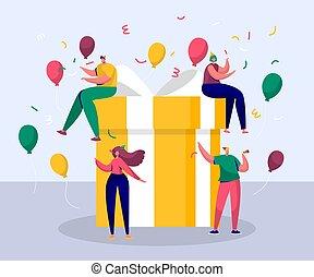 fête, célébration anniversaire, ami, heureux