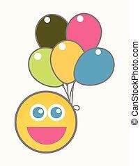 fête, célébration, -, dessin animé, smiley