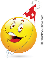 fête, célébration, heureux, visage smiley