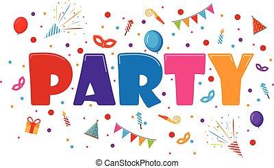 fête, célébration, invitation