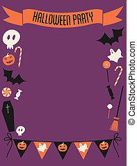fête, cadre, halloween