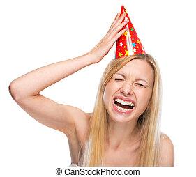 fête, casquette, femme, jeune, sourire