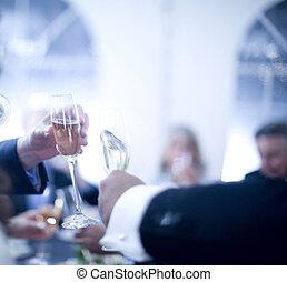 fête, champagne, mariage, réception, mariage