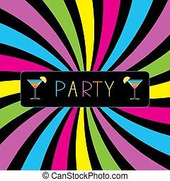 fête, cocktail, coloré, card.