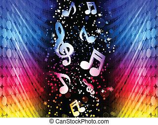 fête, coloré, résumé, -, vecteur, musique, fond, vagues, noir, notes