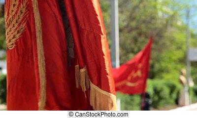 fête, communiste, drapeaux
