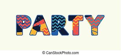 fête, concept, art, illustration, mot