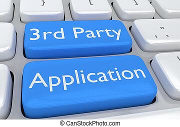 fête, concept, troisième, application