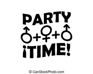 fête, concept, typographique, sexe, conception, temps, trio