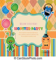 fête, conception, monstre, carte, invitation