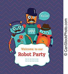 fête, conception, robot, carte, invitation