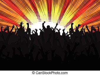 fête, concert, dessin animé, foule