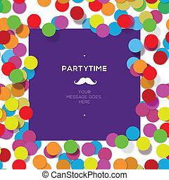 fête, confetti., conception, gabarit, temps