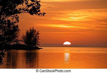 fête, coucher soleil, clã©